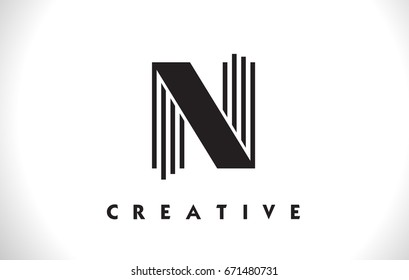 N Letter Logo With Black Lines Design. Line Letter Symbol Vector Illustration