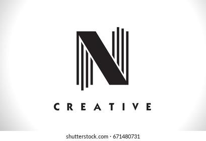 N Letter Logo With Black Lines Design. Line Letter Symbol Vector Illustration