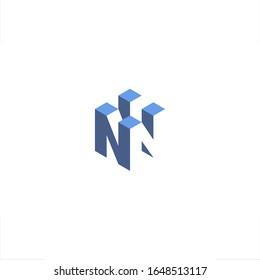 N letter logo blocks construction