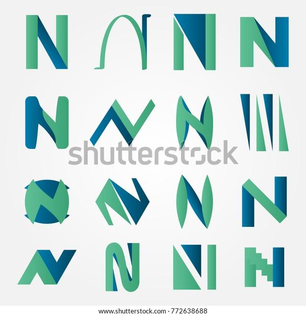 N Letter Logo Creation Set Stock Vector Royalty Free 772638688