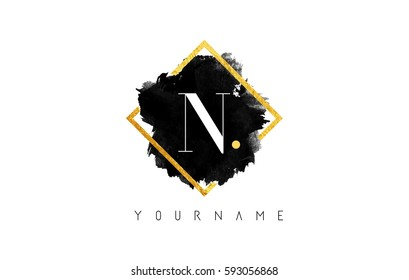 N Letter Logo Design with Black ink Stroke over Golden Square Frame.