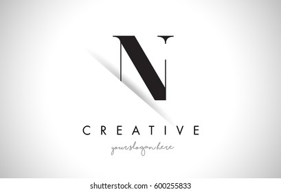 N Letter Logo Design with Creative Paper Cut and Serif Font.