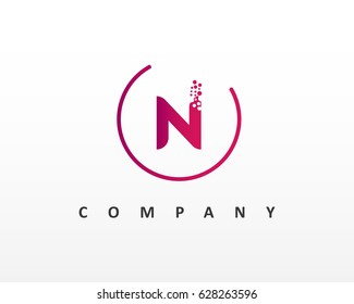 N Letter Logo Design With Dots and Circle