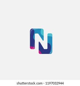 N letter logo . N icon flat design with colorful concept