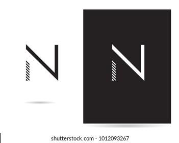 N letter logo stroke design vector template