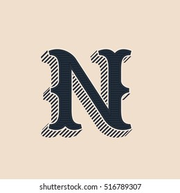 N letter logo in vintage western style with lines shadow. Vector font for labels, posters etc.