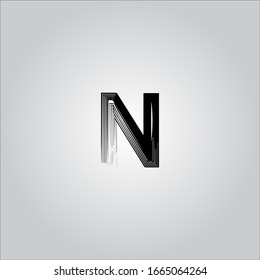 N letter logo with white gradient background.The black letter icon.Nice letter design.
