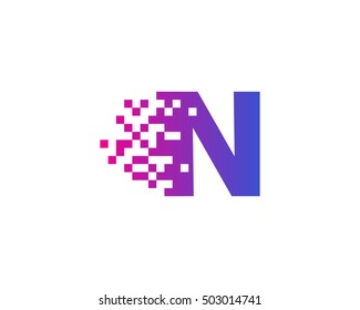 N Letter Pixel Motion Logo Design Template