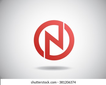 N letter vector logo red