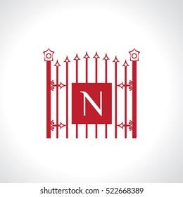 N letter vintage fence vector logo design template. Vintage Luxury Gate Logo