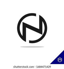 N line logo design. Monochrome monogram minimal linear creative symbol. Universal elegant vector sign design. Premium business logo. Graphic alphabet symbol for company business identity