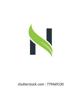 N logo with leaf element