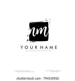 N M initial square logo template vector