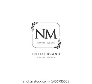 N M NM Beauty vector initial logo, handwriting logo of initial signature, wedding, fashion, jewerly, boutique, floral and botanical with creative template for any company or business.
