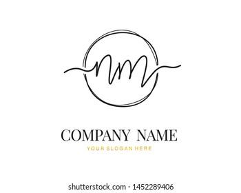 N M NM Initial handwriting logo design with circle. Beautyful design handwritten logo for fashion, team, wedding, luxury logo.