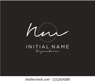 N M Signature initial logo template vector