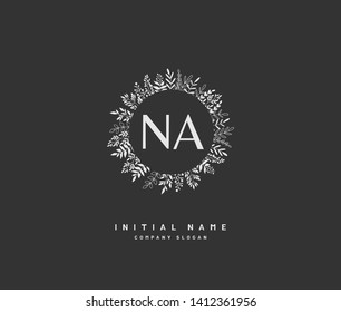 N A NA Beauty vector initial logo, handwriting logo of initial wedding, fashion, jewerly, heraldic, boutique, floral and botanical with creative template for any company or business.
