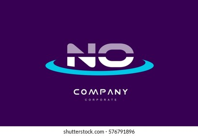 n o no cyan magenta blue letter combination alphabet vector company logo icon sign design template