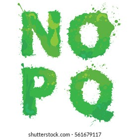 N, O, P,Q, Handdrawn english alphabet - letters are made of green watercolor, ink splatter, paint splash font. Isolated on white background.