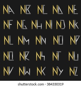 N and other alphabet letters monogram logo