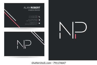 N & P joint logo stroke letter design with business card template