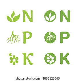 N, P, K icons set - concentration of nitrogen, phosporous and potassium in gardening fertilizers. Nutrients for Leaves, Flower and Roots