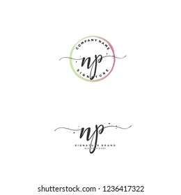 N P NP Initial letter handwriting and  signature logo.