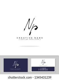 N P NP initial logo signature template vector. Handwriting logo concept