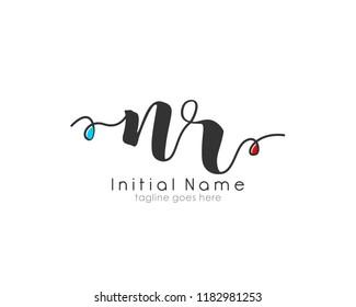 N R Initial handwriting logo vector template
