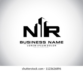 N R Initial logo concept with building template vector.
