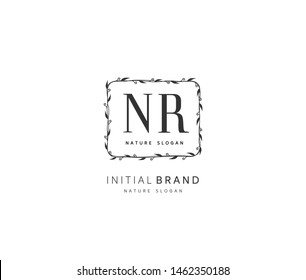 N R NR Beauty vector initial logo, handwriting logo of initial signature, wedding, fashion, jewerly, boutique, floral and botanical with creative template for any company or business.