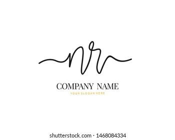 N R NR Initial handwriting logo design with circle. Beautyful design handwritten logo for fashion, team, wedding, luxury logo.