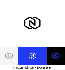 N in rhombus vector. Minimalism logo, icon, symbol, sign from letters n. Flat logotype design with blue color for company or brand.