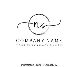 N S Initial handwriting logo vector