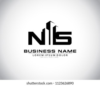 N S Initial logo concept with building template vector.