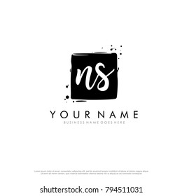 N S initial square logo template vector