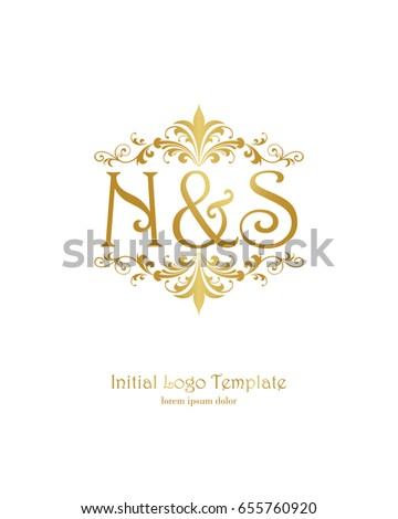 n s initial wedding logo template stock vector royalty free
