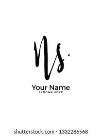 N S NS initial logo signature vector. Handwriting concept logo.