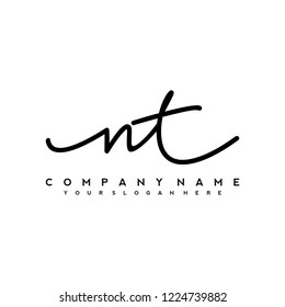 N T Initial handwriting logo vector
