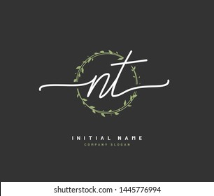 N T NT Beauty vector initial logo, handwriting logo of initial signature, wedding, fashion, jewerly, boutique, floral and botanical with creative template for any company or business.