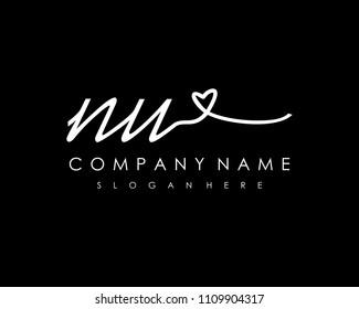 N U Initial handwriting logo vector