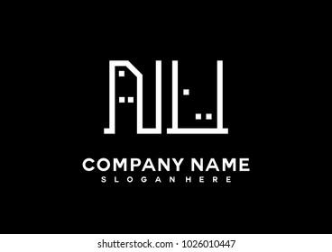 N U initial logo template vector