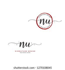 N U NU Initial letter handwriting and  signature logo.