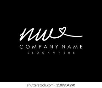 N W Initial handwriting logo vector