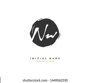 N W NW Beauty vector initial logo, handwriting logo of initial signature, wedding, fashion, jewerly, boutique, floral and botanical with creative template for any company or business.