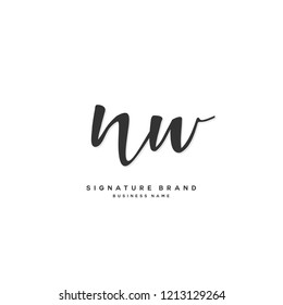 N W NW Initial letter handwriting and  signature logo concept design