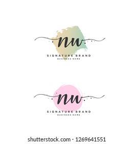 N W NW Initial letter handwriting and  signature logo.