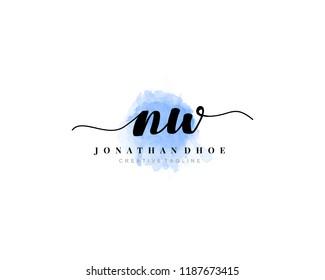 N W NW Initial watercolor logo
