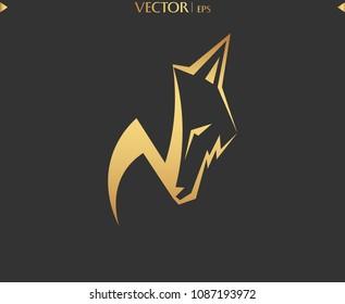 N Wolf Logo. Luxury Gold Logo