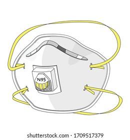 N95 respirator mask with valve for coronavirus protect against virus.